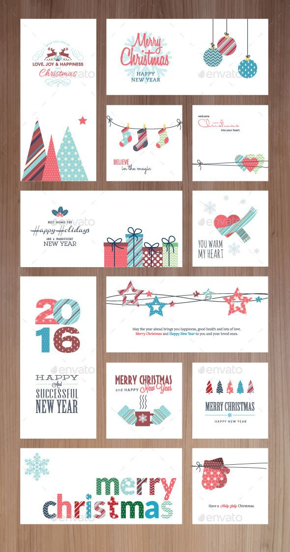 Christmas and New Year Greeting Cards and Banners Template Vector EPS, AI #design Download: http://graphicriver.net/item/christmas-and-new-year-greeting-cards-and-banners/9492855?ref=ksioks