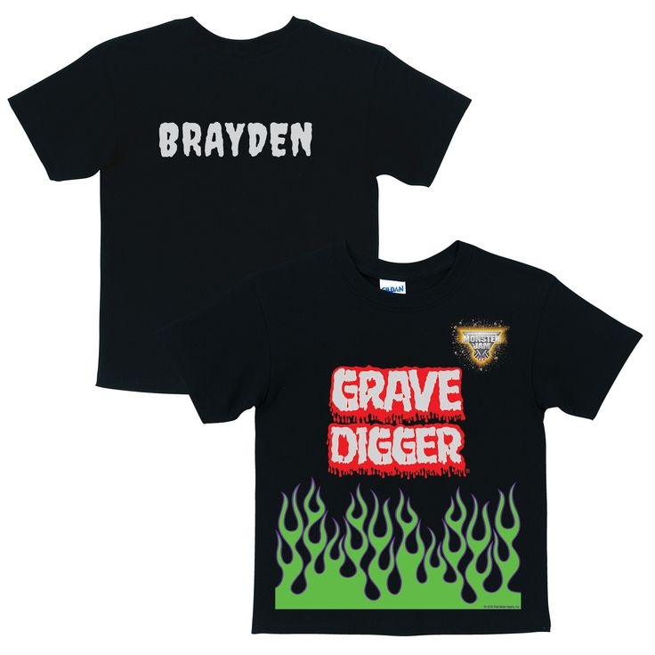 Monster Jam Grave Digger Uniform Black T-shirt - Halloween - Holiday & Seasonal | Tv's Toy Box