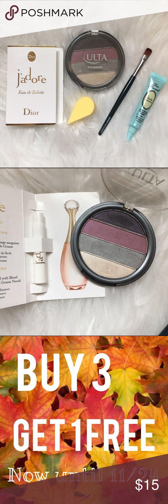 Eyeshadow Dior Bundle Includes: mini Dior perfume, an eyeshadow brush, yellow blender, travel size Too Faced eyeshadow primer & ulta eyeshadow palette swatched with professional makeup brush. No trades. Price is firm unless bundled. 🇺🇸30% off Bundles 🇺🇸 Sephora Makeup Eyeshadow