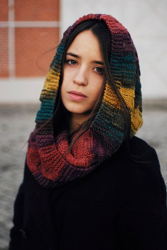 Colorful hand knitted hood scarf. You can wear it as a hood using a pin to secure it to your desired fitting, leave the edges loose or leave the hood