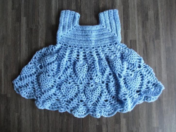 Gehaakte jurk licht blauw