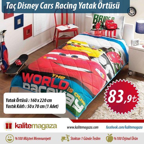 """Taç Disney Cars Racing Yatak Örtüsü Çocuğunuzun Hayal Dünyası O sizin hayatınıza renk kattı, sizde onun hayatını renklendirin. Siz nasıl """"minik kahramanınızdan"""" ayrı yaşayamıyorsanız, o da kahramanlarından ayrı yaşayamaz.  Yatak Örtüsü : 160 x 220 cm Yastık Kılıfı : 50 x 70 cm (1 Adet)"""