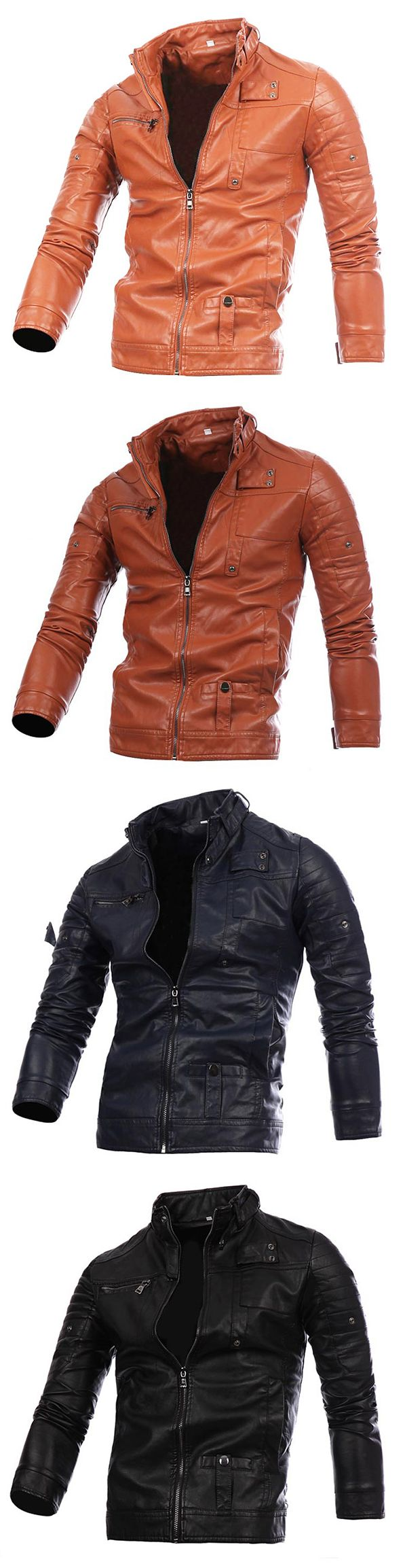 US$34.66 Plus Size Stylish Stitching Collar Button Motorcycle PU Leather Jackets for Men