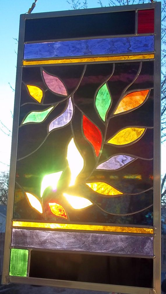 Brilliant  Mardi Gras Leaves  Stained Glass Window Panel by rneely, $139.00