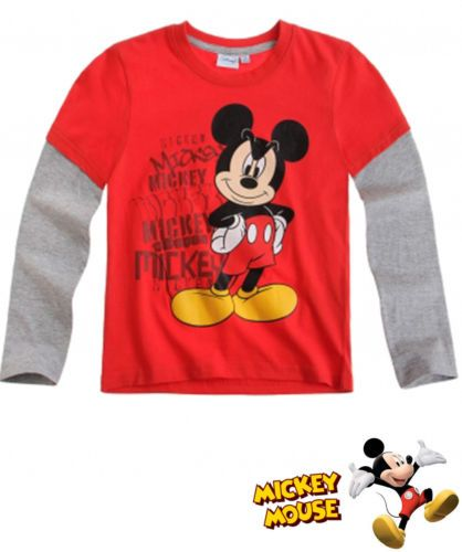 BOY'S KIDS MICKEY MOUSE OFFICIAL LONGSLEEVE T-SHIRT Sz:Age 3-8 RED