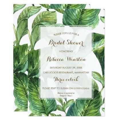 #bridal - #botanical tropical leaves bridal shower invitation