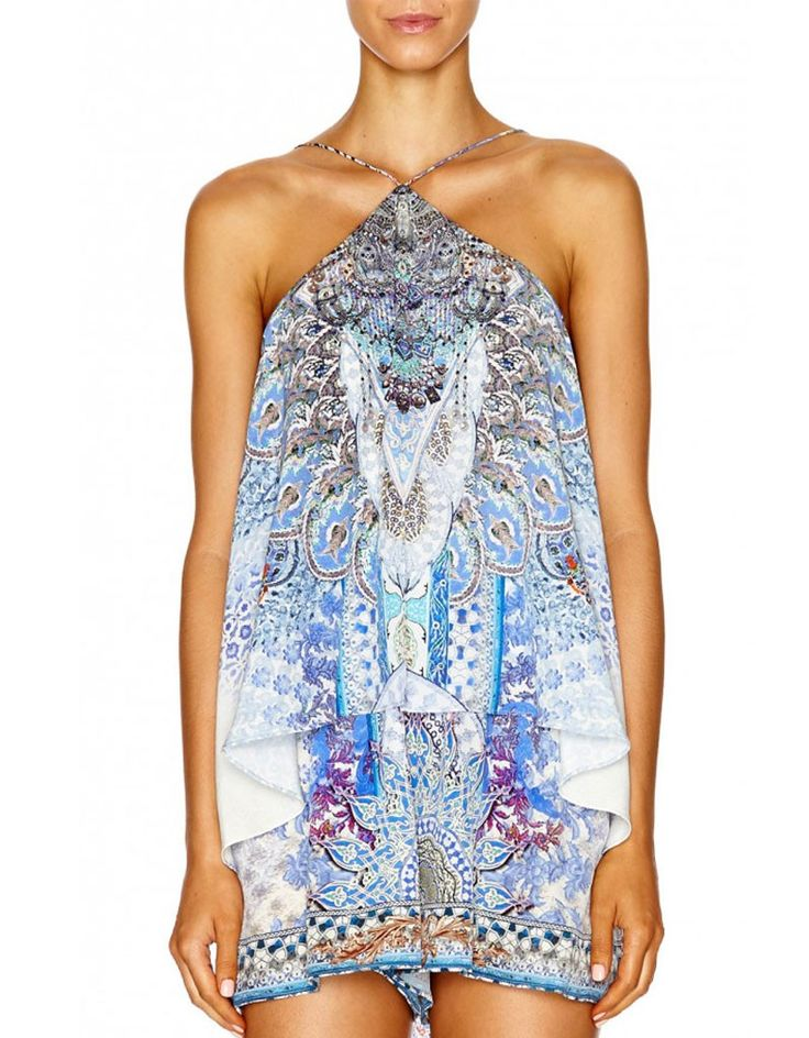 Camilla Halterneck Layered Playsuit in Concubine Realm
