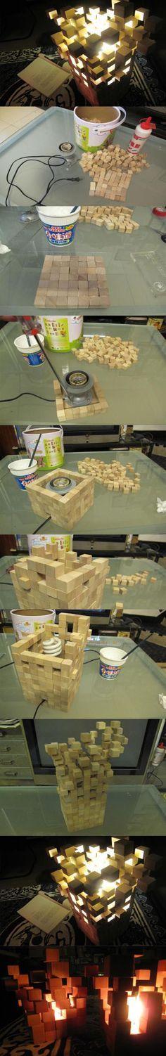 Créer une lampe avec de petits cubes en bois
