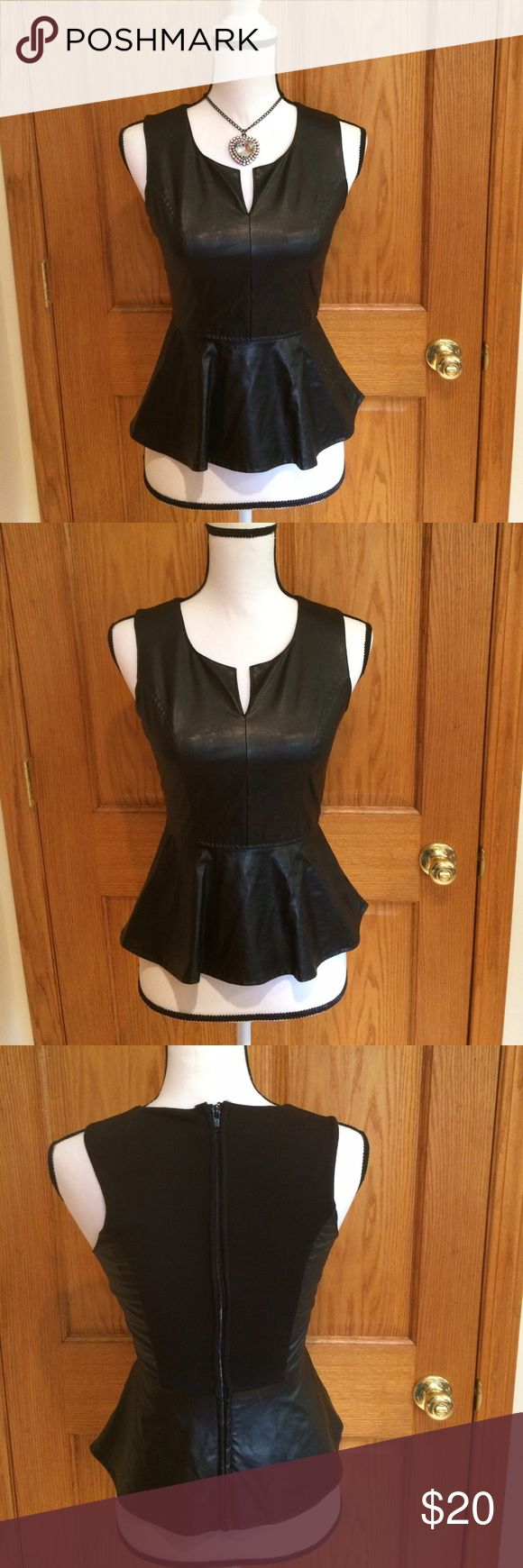 "Charlotte Russe Peplum Top Black faux leather peplum top. Full zipper in back. Measurements approximately as follows: bust 30"" and length is 21"". Charlotte Russe Tops Blouses"