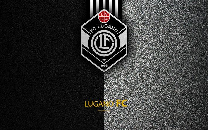 Download wallpapers Lugano FC, 4k, football club, leather texture, logo, emblem, Swiss Super League, Lugano, Switzerland, football