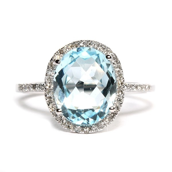 14K White Gold Oval Blue Topaz and Diamond Ring $649 #hudson_poole_jewelers