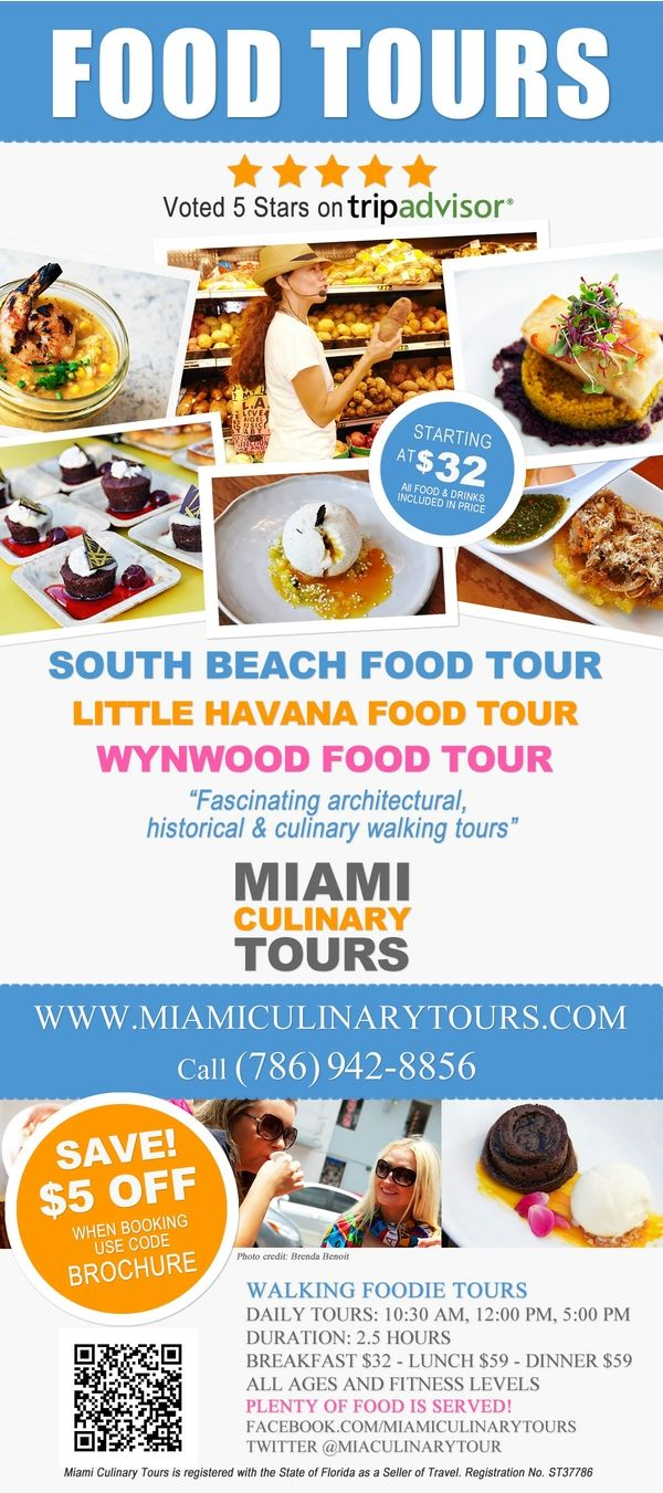 $32 Food Tours in Miami. We offer the Art Deco Breakfast Tour, The South Beach Food Tour, The Little Havana Food Tour and the Wynwood Food Tour. You can visit us at www.miamiculinarytours.com