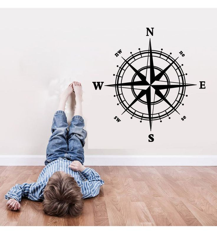 Compass Wall Decal Nautical Home Decor 60*60cm Removable Wall Decor For Home Bedroom Decoration Stickers