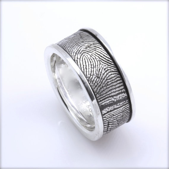 Trendy mm Sterling Silver Custom Fingerprint Wedding Commitment Band with Side Rims Awesome Men us wedding