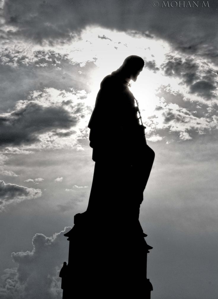 A Statue of Jesus on Charles Bridge, Prague. #photography #monochrome #bw #cz #praha #prague