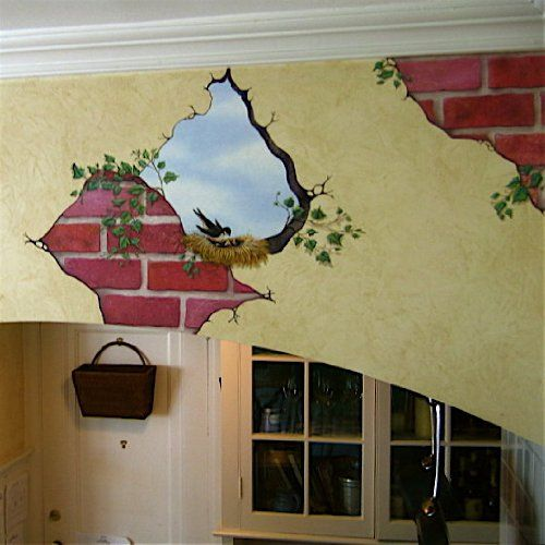 Bird In Wall And Breakaway Bricks Mural Transfer Decal
