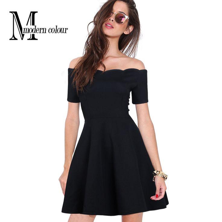 Cheap Fuera Del Hombro Negro Vestido de Las Mujeres Del Verano 2016 Nueva Moda Corta Mujeres Sexy Vestidos de Partido Del Club de Noche Mini Vestido de manga Para señoras, Compro Calidad Vestidos directamente de los surtidores de China: