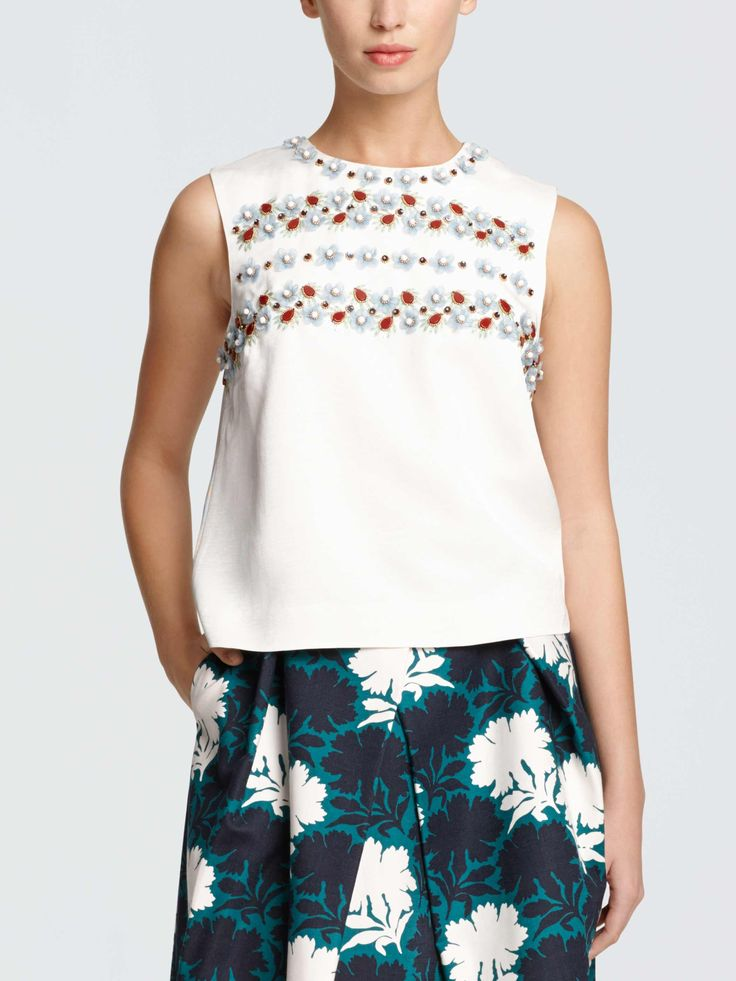 Draper James - Collection Jeweled Faille Tank - Willow White - 2