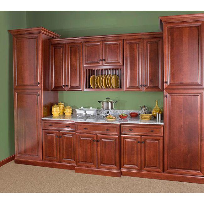 Best Cherry Stain Chocolate Glaze Wall Microwave Cabinet 400 x 300