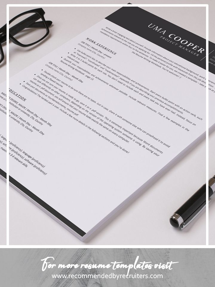 Ats resume template and cover letter instant download ats