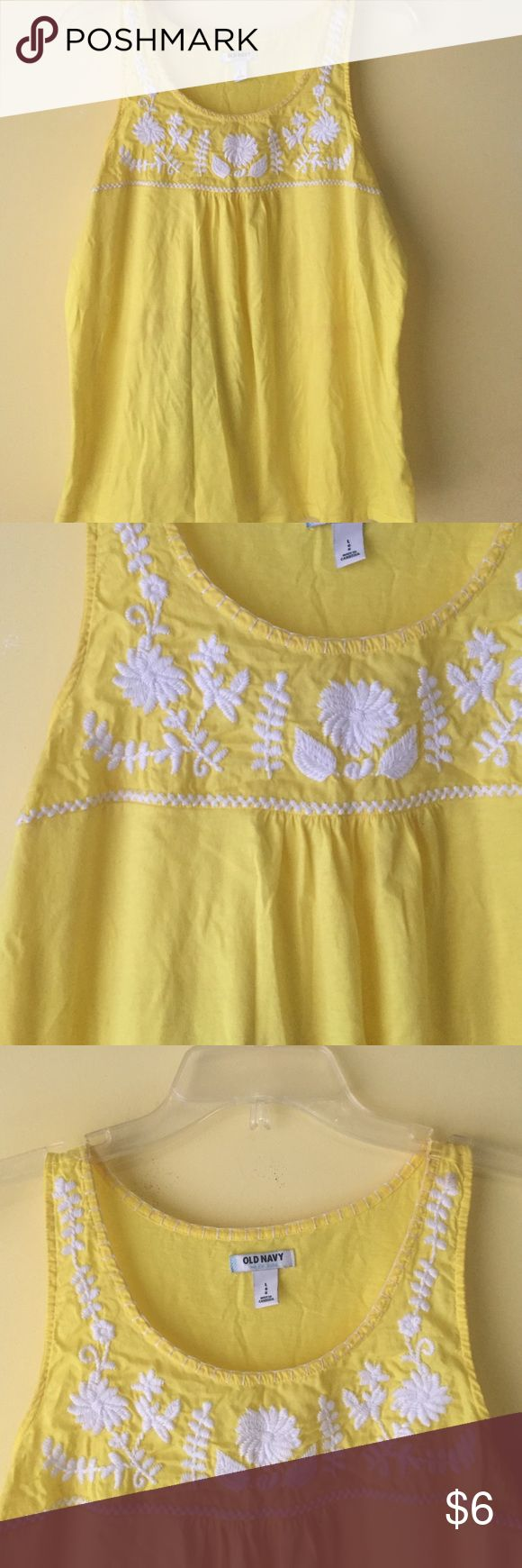 🌼Embroidered yellow tank | size L | Old Navy Worn once. Great condition. Soft yellow with white embroidery. ✖️No damage, stains, etc.✖️ Old Navy Tops Tank Tops