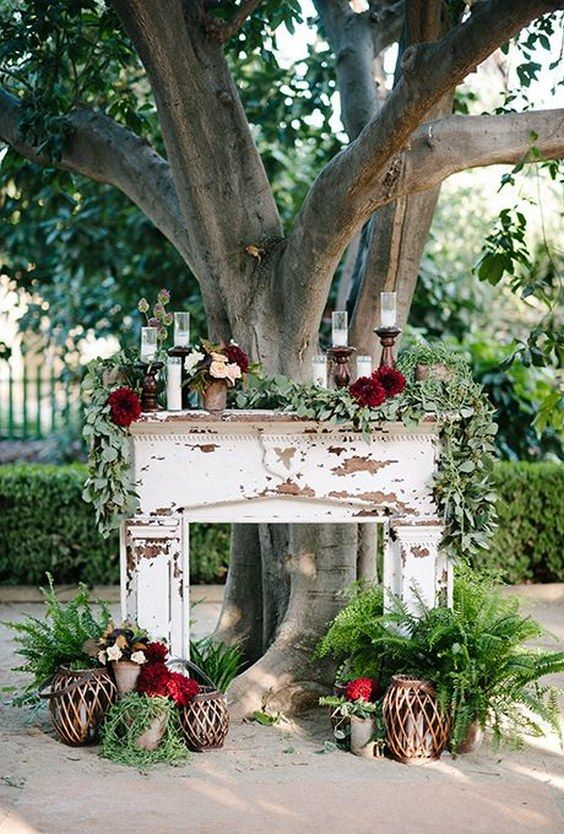 Fireplaces make for romantic, rustic altars / http://www.himisspuff.com/fall-wedding-arch-and-altar-ideas/4/