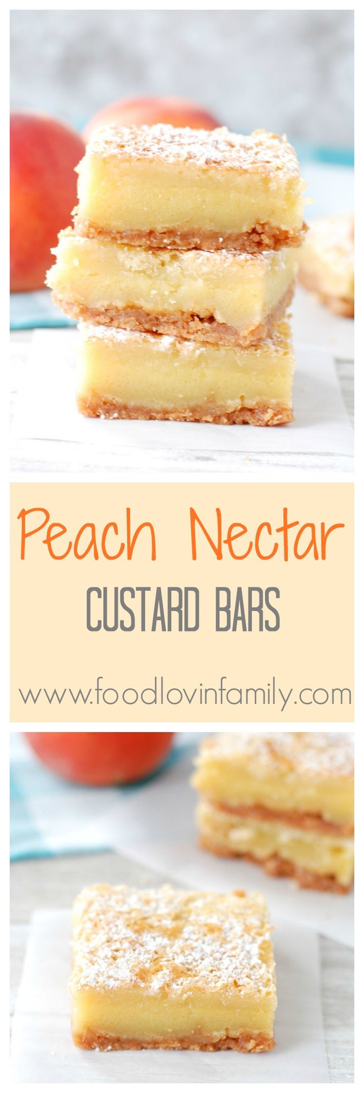Peach Nectar Custard Bars   Peach Nectar Custard Bars start with a crushed vanilla wafer crust, topped with a custard like filling, sugar crust top and dusted with powdered sugar. http://www.foodlovinfamily.com/peach-nectar-custard-bars/