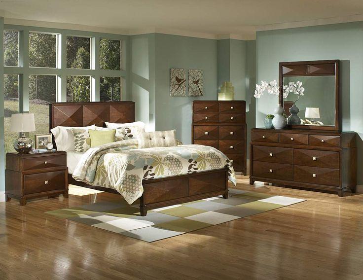 Diamond Palace Dark Cherry Wood Master Bedroom Set