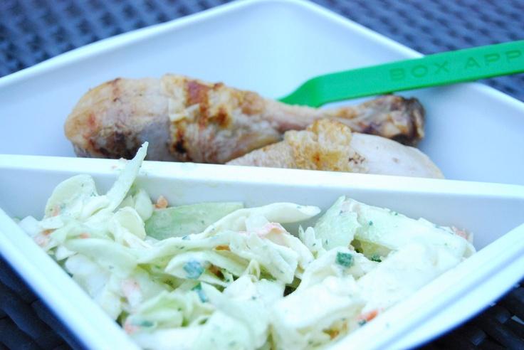 Chicken drumsticks and picnic coleslaw