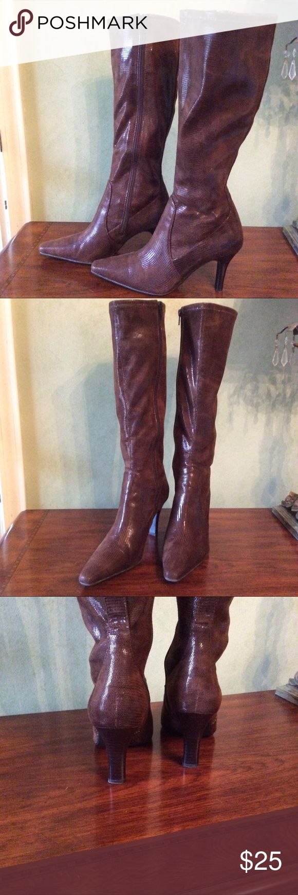 "Faux Croc Knee high Boots Brown faux crocodile boots by Alfani. Inside zipper plus fabric has some stretch. 3-1/2"" heel 16"" high shaft. Sz 7.5 EUC Alfani Shoes Heeled Boots"