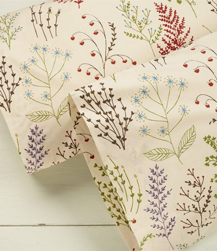 Botanical Floral Percale Pillowcases Set Of Two