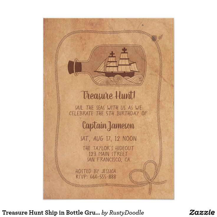 wording0th birthday party invitation%0A Treasure Hunt Ship in Bottle Grunge Birthday Party Card