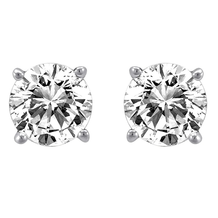 0.25 ct Diamond Solitaire Earrings - Hannoush Jewelers - $240.00: Solitaire Earrings, Diamonds Earrings, 14K White, 0 75 Carat, Carat Totally, Diamonds Solitaire, Diamond Earrings, Brilliant Diamonds, White Gold Diamonds