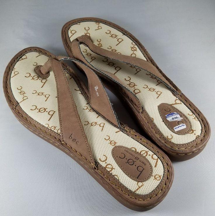 Womens boc Brand Brown Beige Thong Flip Flops Beach Shoes Excellent Size 11M #boc #FlipFlops #Everyday