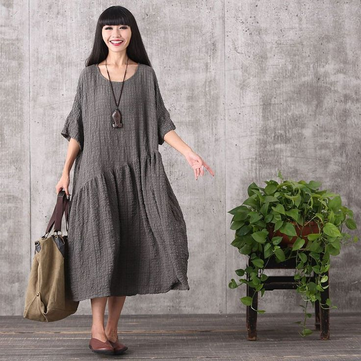 Dress - Women Retro Style Loose Pullover Cotton Linen Dress. Simple design, would be easy to modify.