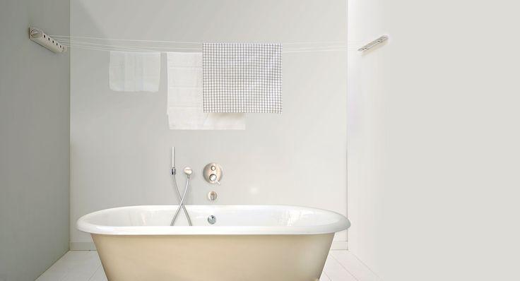 """Smart utdragbar #tvättlina för """"osynligt"""" extra torkutrymme i #tvättstugan."""