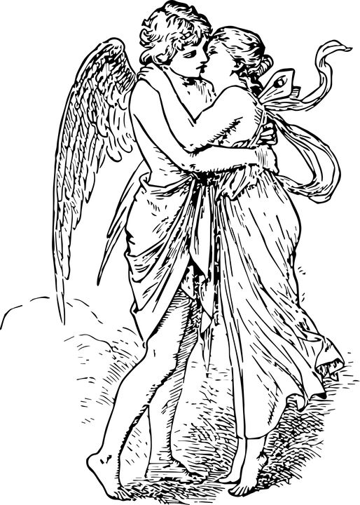 Eros and Psyche - cupid, eros, greek, love, myth, psyche, romance, valentine, wood cuts , free vector graphics,  free illustrations, free images,  royalty free