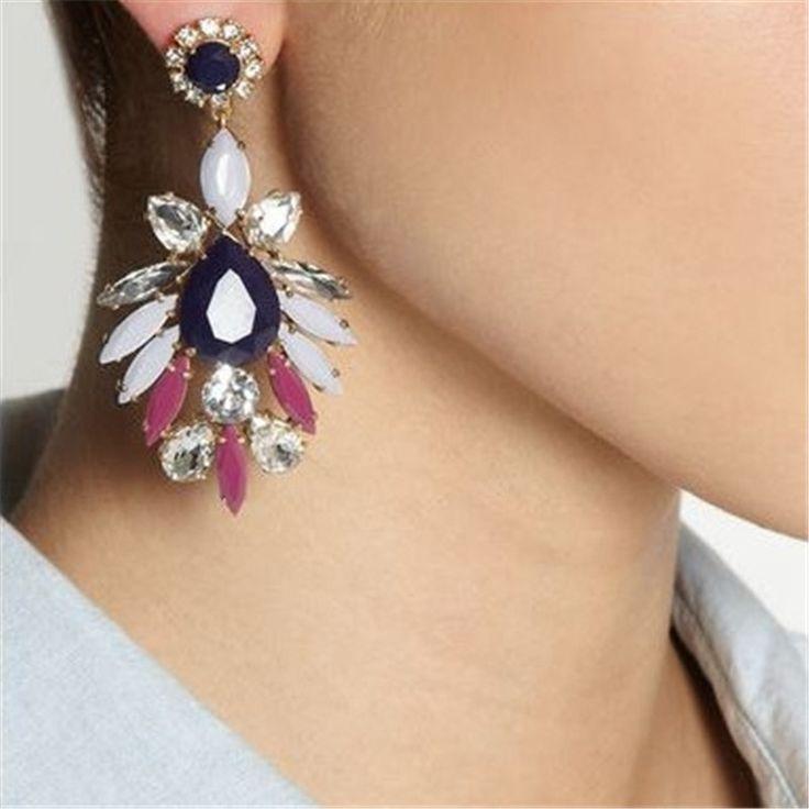 Große Blume Lange Ohrringe Glänzende Strass Anhänger Ohrringe für Frauen Eurpean Marke Kristall Schmuck Ohrringe MJ-82