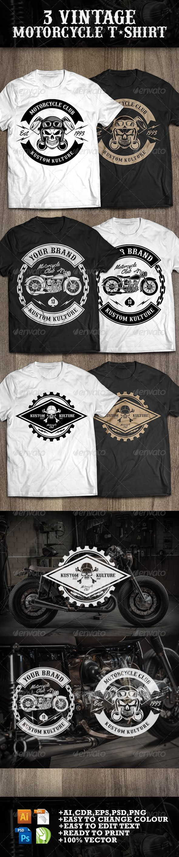 3 Vintage T-shirt Motorcycle Template PSD, Vector EPS, AI. Download here: http://graphicriver.net/item/3-vintage-tshirt-motorcycle/7779750?ref=ksioks