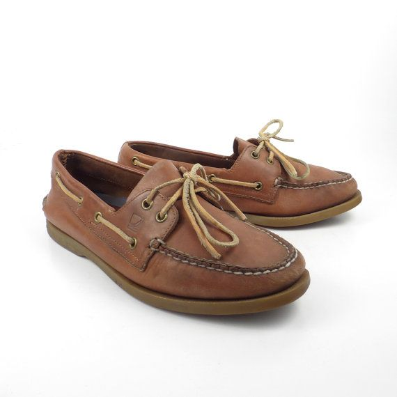 Brown Boat Shoes Vintage 1990s Sperry by purevintageclothing Topsiders