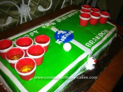 Homemade Beer Pong Birthday Cake: This Beer Pong Birthday Cake was made for my son's 18th Birthday! It was a white Cake with vanilla buttercream made out of 1 9 x 13 cake, and half of a