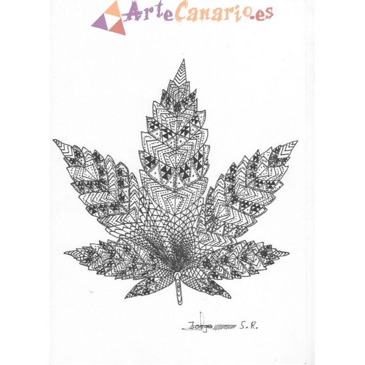 Hoja de Marihuana Canaria. La Tienda de ArteCanario.es  Artista: Jorge Santana Romero  #artecanario #comprar #arte #canarias