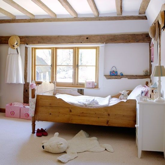 Modern Country Girlsu0027 Bedroom. Beautiful Beams Are Enhanced By Antiue Pine  Furniture And Pale