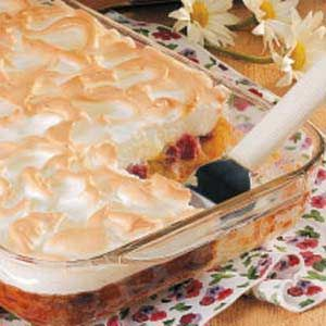 Rhubarb Meringue Dessert Recipe -I hear so many nice comments when I serve this special springtime dessert. I make it often when our abundant rhubarb is in its prime. It's just as homey as a rhubarb custard pie, but it easily serves a large group.    —Jessica Moch                                                           Bismarck, North Dakota