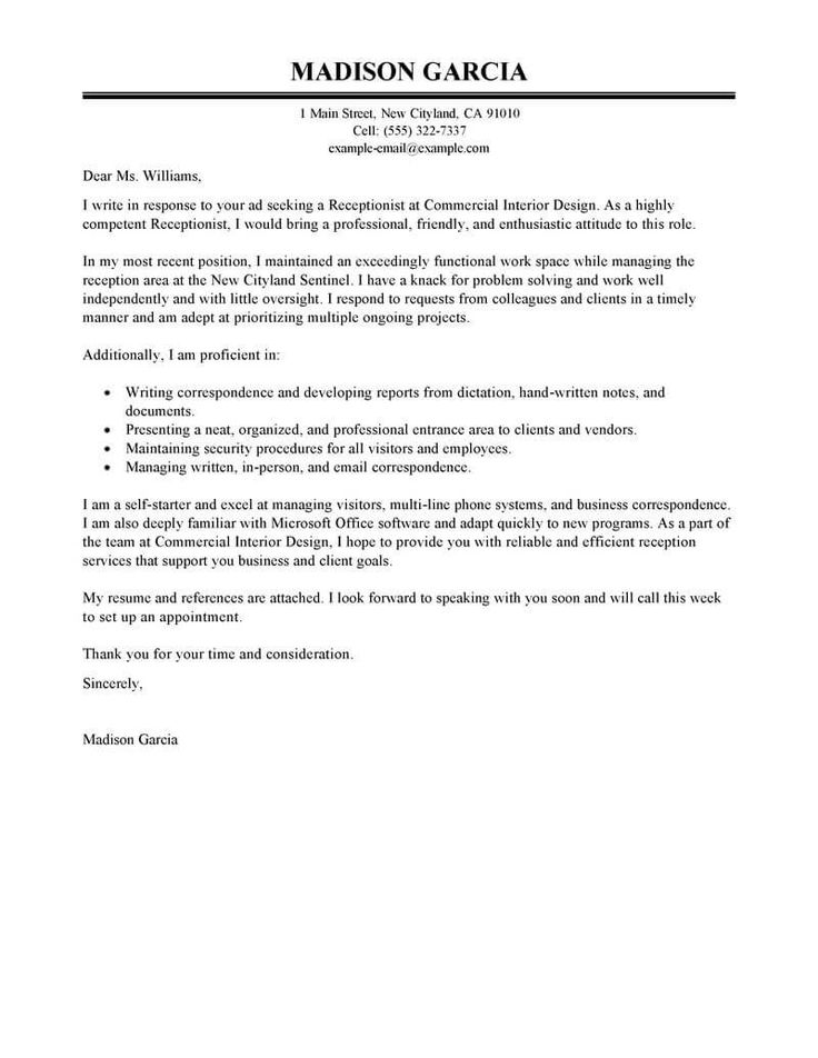 Cover letter template for receptionist hoteles
