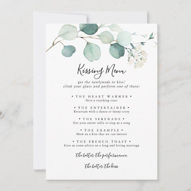 Summer Eucalyptus Wedding Kissing Menu Game Card Zazzle Com Wedding Kiss Wedding Kissing Games Kissing Menu