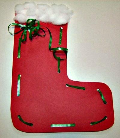 Santa Stocking Lacing Craft and Christmas Song for Kids