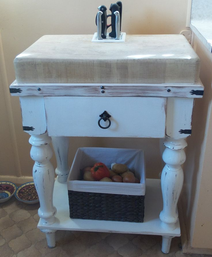 Gothic French Country style butcher block , all I had was the big block so built the table ,put an old knife block in as well , was not easy lol , love how it turned out :-)