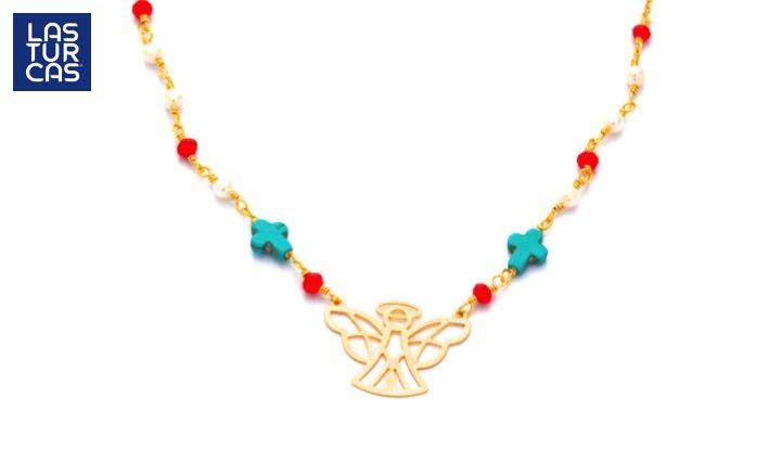 Collar Angel de la guarda entorchado con cristales rojos, perlitas y cruces en turquesa #Accesorios #Collares #Angel #LTurcas