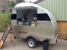 MOBILE COFFEE TRAILER TEARDROP STAINLESS STEEL + 2 GROUP COFFEE MACHINE BUSINESS